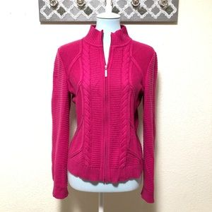 St. John Cashmere Sweater Jacket Hot Pink, Size S